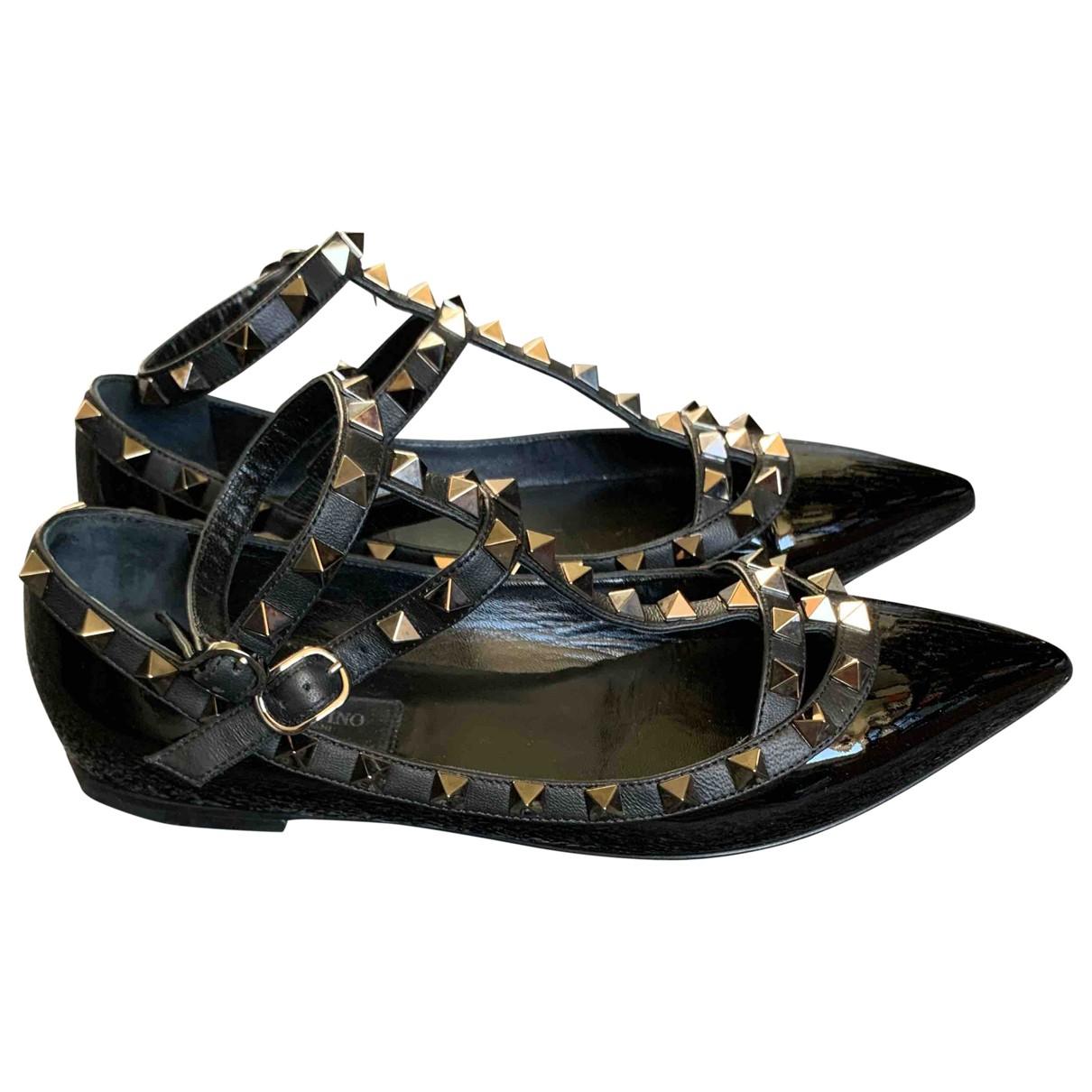 Valentino Garavani Rockstud Black Patent leather Ballet flats for Women 35.5 EU