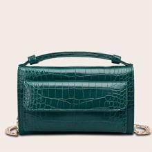 Handtasche mit Krokodil Praegung und Klappe