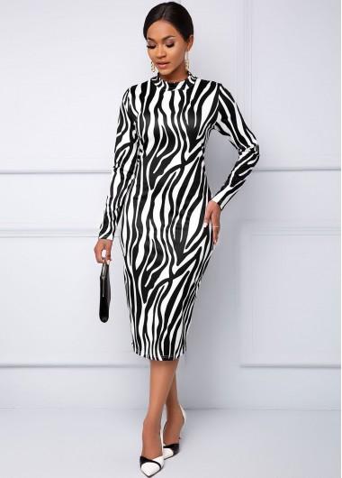 Black Dresses Long Sleeve Zebra Print Round Neck Dress - M