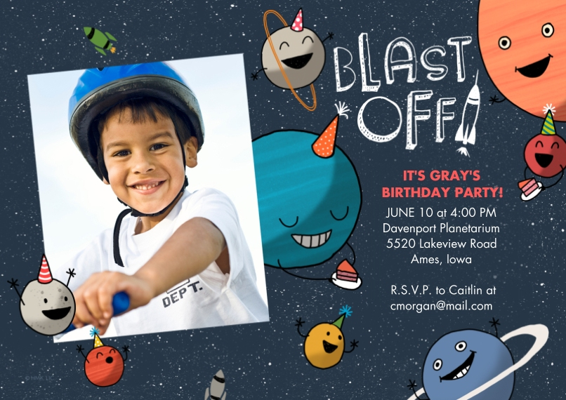 Kids Birthday Party 5x7 Cards, Premium Cardstock 120lb with Rounded Corners, Card & Stationery -Blast Off! Birthday Invitation by Hallmark