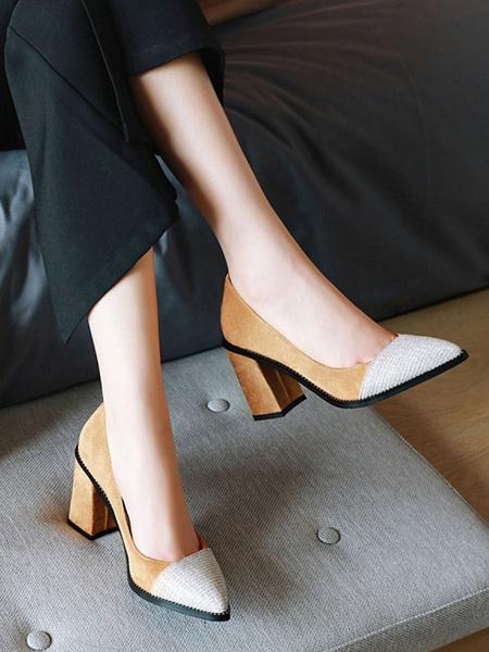 Milanoo Zapatos de tacon alto para mujer Zapatos de tacon grueso de ante marron claro Zapatos de tacon grueso de ante sin cordones