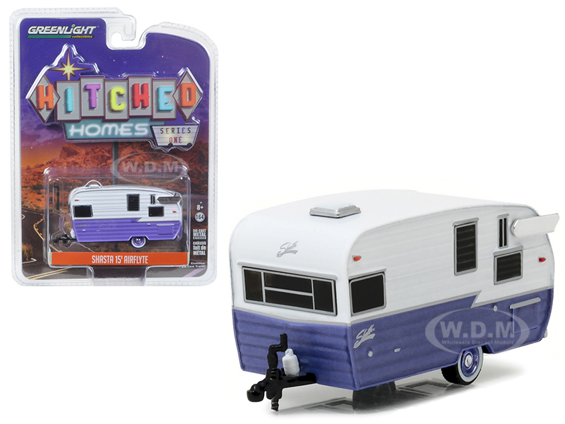 Shasta 15 Airflyte Trailer White and Purple 1/64 Diecast Model by Greenlight