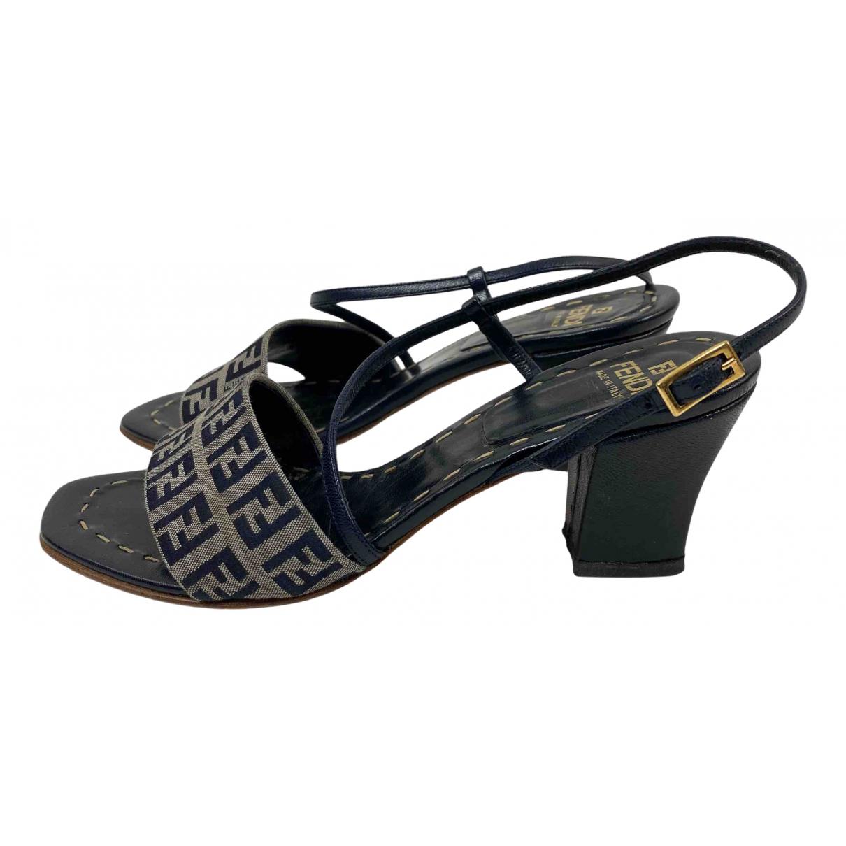 Fendi N Navy Cloth Sandals for Women 36 IT