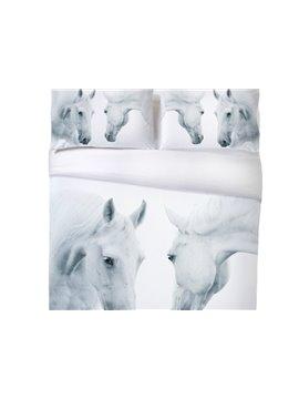 Vivilinen 3D Couple Horses Printed 4-Piece White Bedding Sets/Duvet Covers