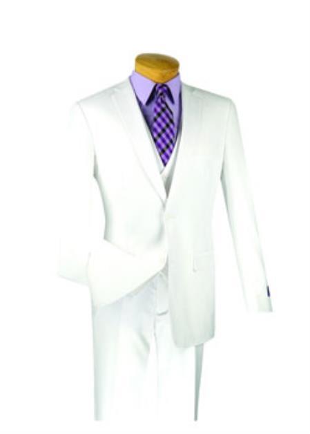 Men's White 3 Piece 1 Wool Executive Suit - Narrow Leg Pants
