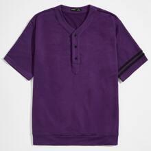 Pullover mit kurzen Ärmeln, Band und halber Knopfleiste
