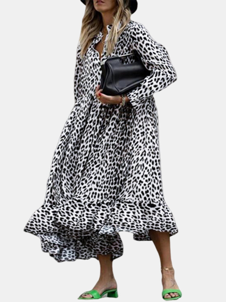 Leopard Print Ruffle A-line Plus Size Shirt Dress