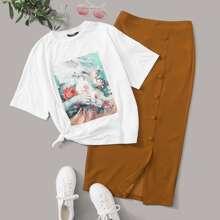 T-Shirt mit Figur Grafik & Rock Set mit Knopfen vorn und Schlitz