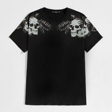 Men Skull & Floral Print Tee