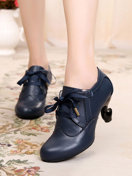 Milanoo Classic Lolita Footwear Roudn Toe Lace Up PU White Lolita Shoes