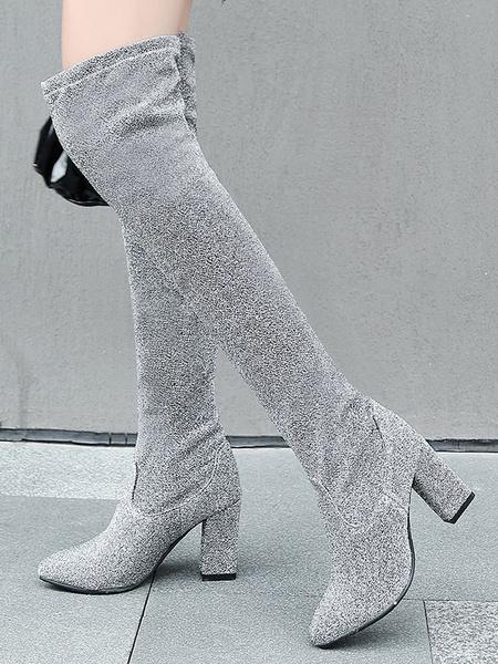 Milanoo Botas sobre la rodilla Botas de invierno de tela con lentejuelas con punta redonda marron cafe para mujer
