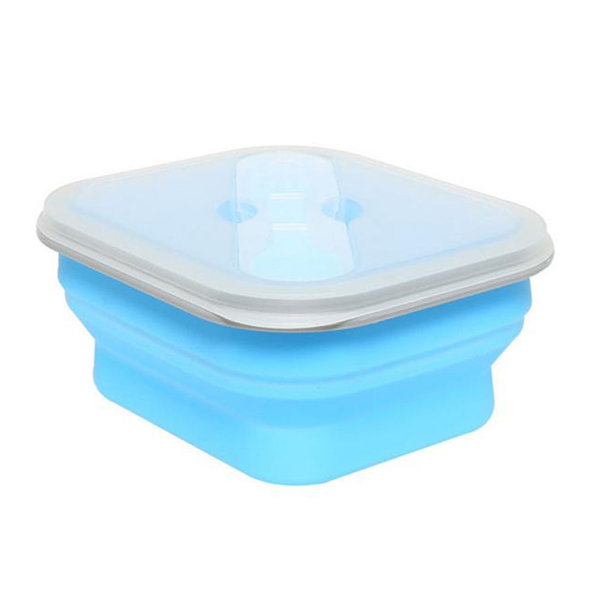 Collapsible Silicone Lunch Box BPA Free Foldable Bento Food Container With Tableware