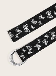 Printed Butterfly Woven Belt
