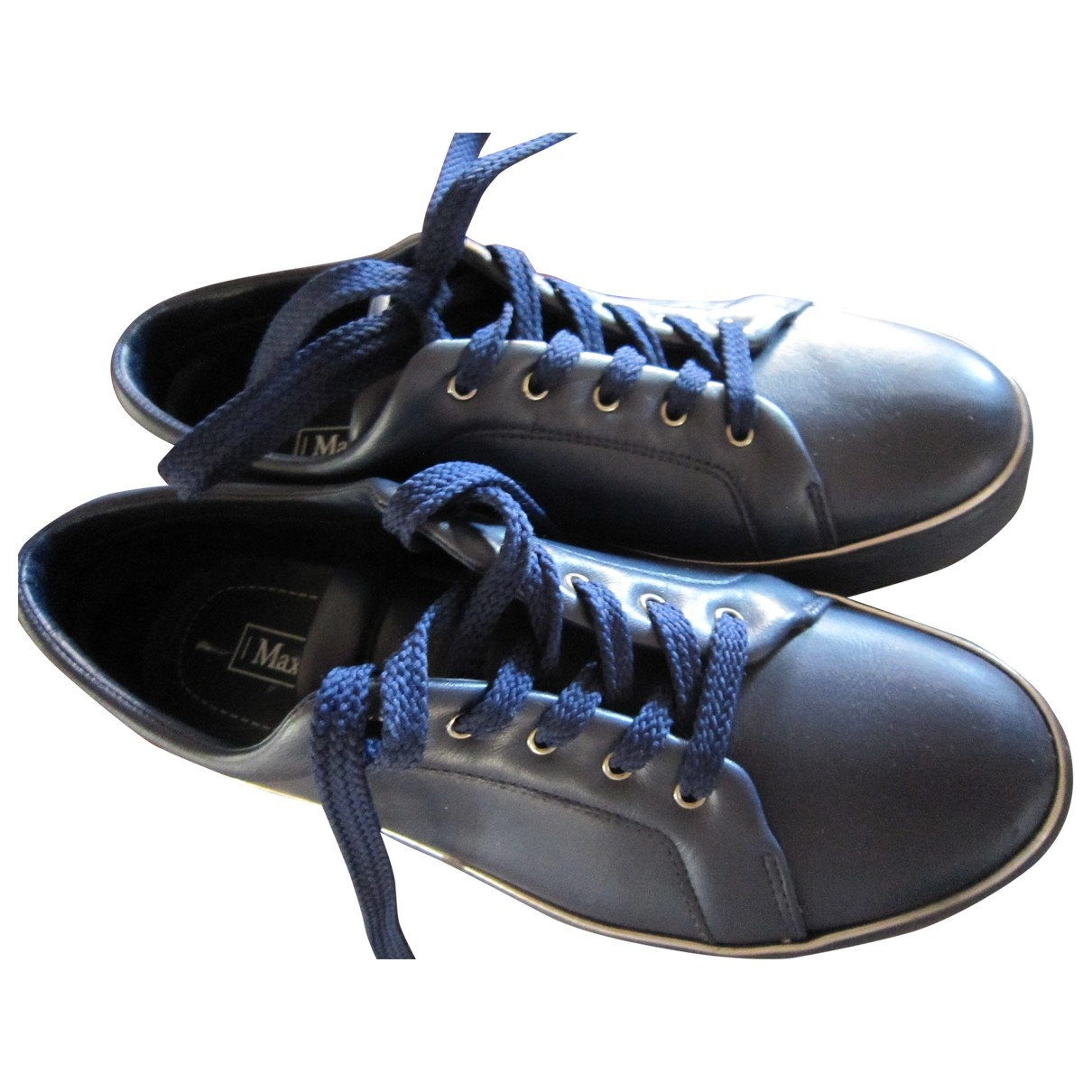 Max Mara - Baskets   pour femme en cuir verni - bleu