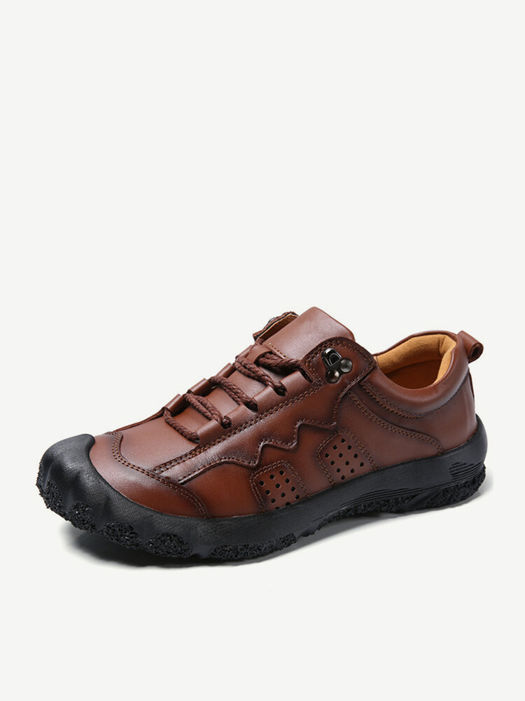 Men Genuine Leather Non Slip Comfy Soft Sole Outdoor Casual Shoes