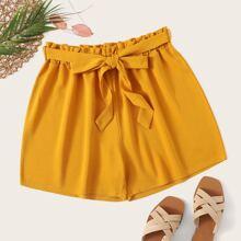 Ubergrosse Shorts mit Papiertasche Taille und Guertel