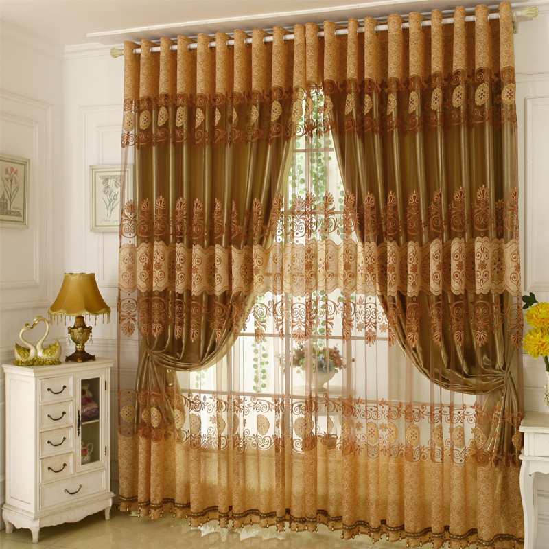 Room Darkening Ochre Curtain Sets Polyester Blend Super Heavy and Soft Handy Feeling Eco-friendly Blocks Out Noise Reducing Privacy Protection and Ene