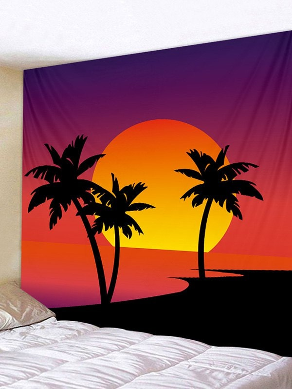 Sunset Palm Tree Print Tapestry Wall Hanging Art Decoration