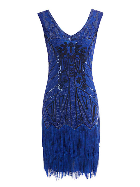 Milanoo Women's Flapper Dress Sequins 1920s Fashion Style Outfits Great Gatsby Costume Vintage 20s Party Dress