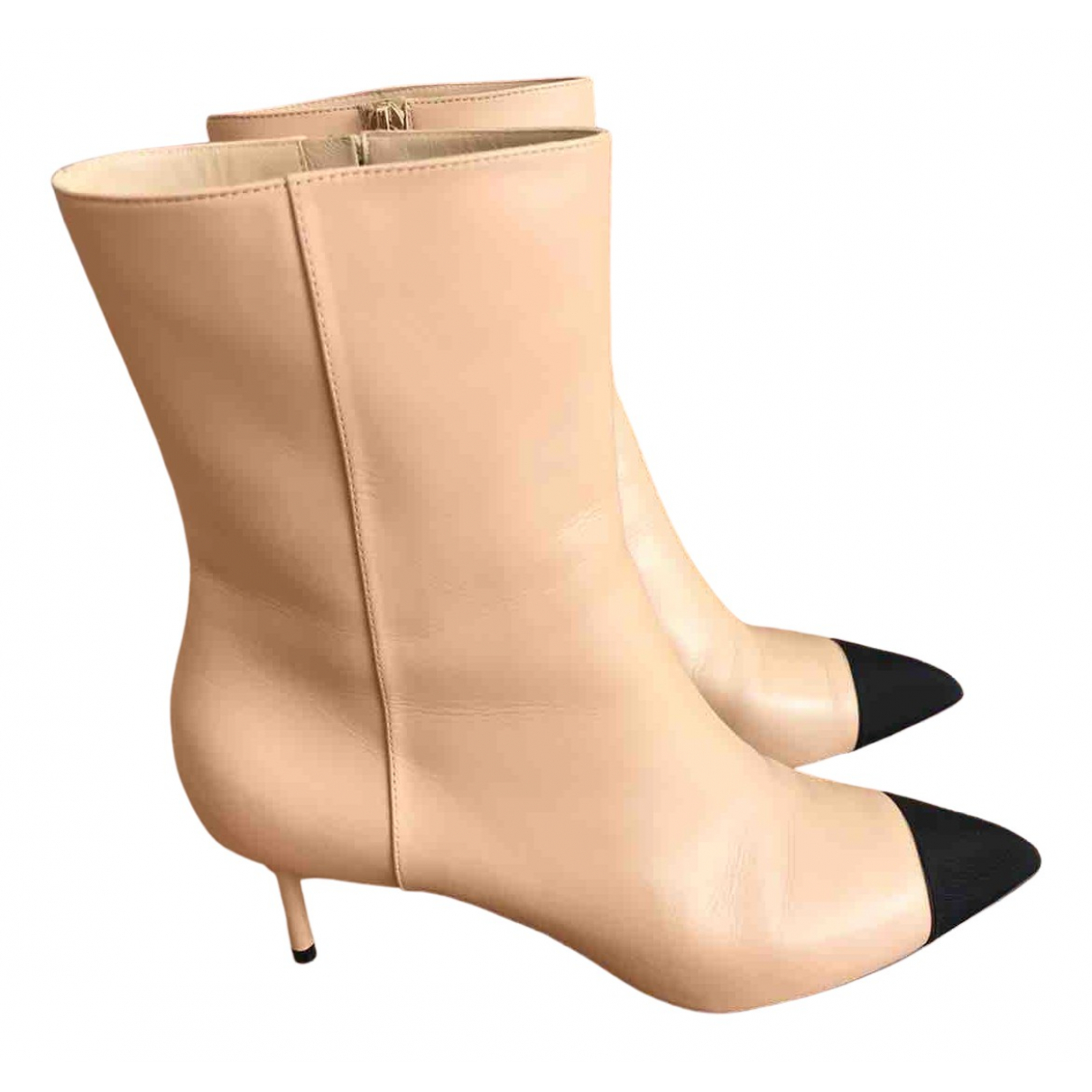 Chanel \N Beige Leather Ankle boots for Women 40.5 EU
