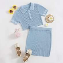 Girls Button Half Placket Knit Top & Skirt Set
