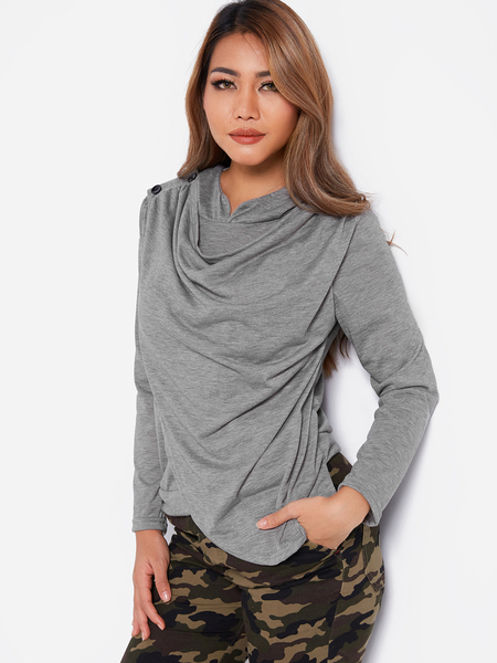 Yoins Grey Drape Sagging Long Sleeves Top With Irregular Hem