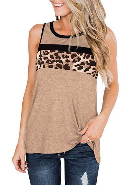 Milanoo Summer Tank Top Leopard Print Sleeveless Casual Tops