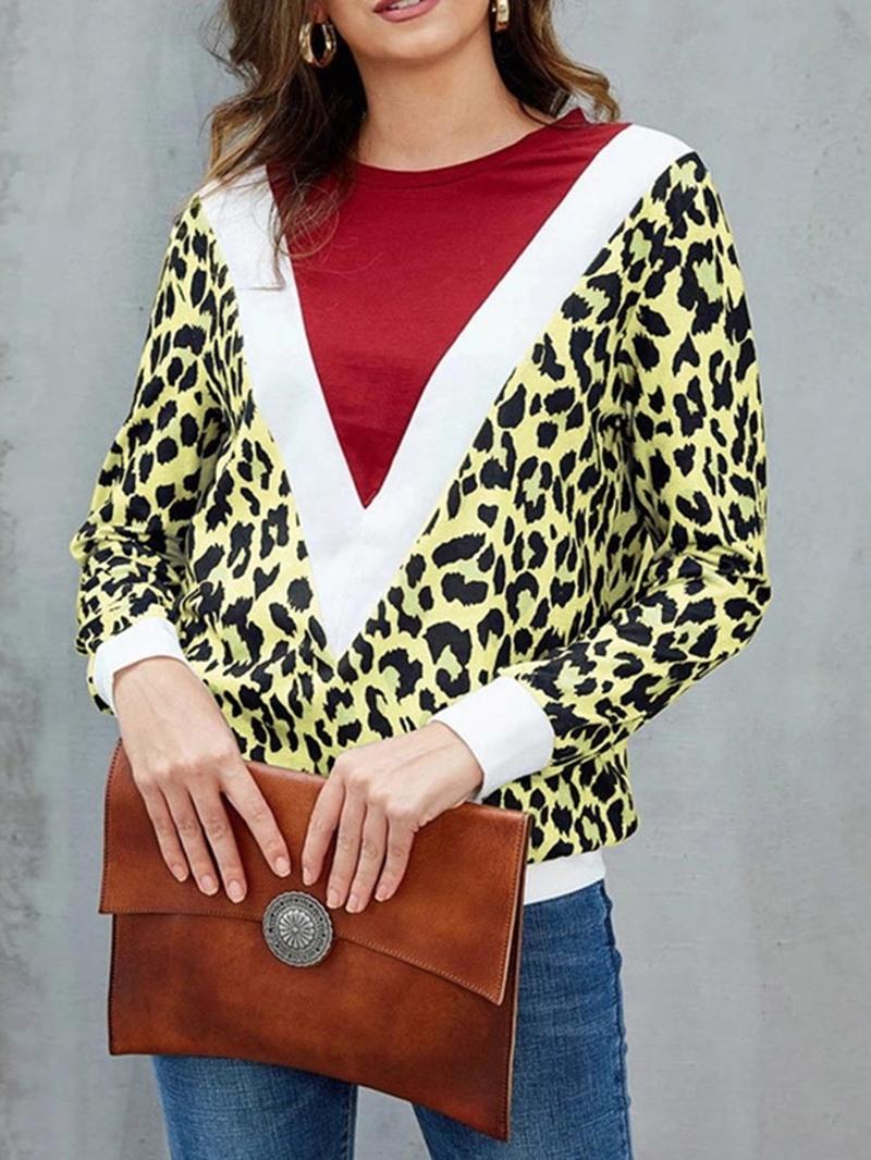 Ericdress Leopard Standard Long Sleeve Round Neck Straight Casual T-Shirt