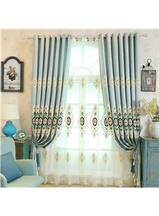 Light Blue High Quality Polyester 2 Pieces Decorative and Breathable Sheer Drapes