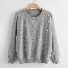 Plus Pearls Detail Drop Shoulder Sweater