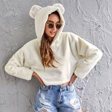 3D Ears Design Drop Shoulder Sweatshirt