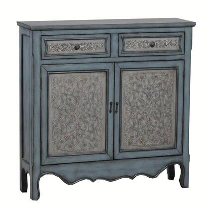 14A2048 41 Console with Two Doors  Two Drawers and Raised Decorative Patterns in Blue and