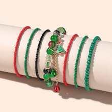 7 Stuecke Armband mit Tannenbaum Anhaenger und Perlen