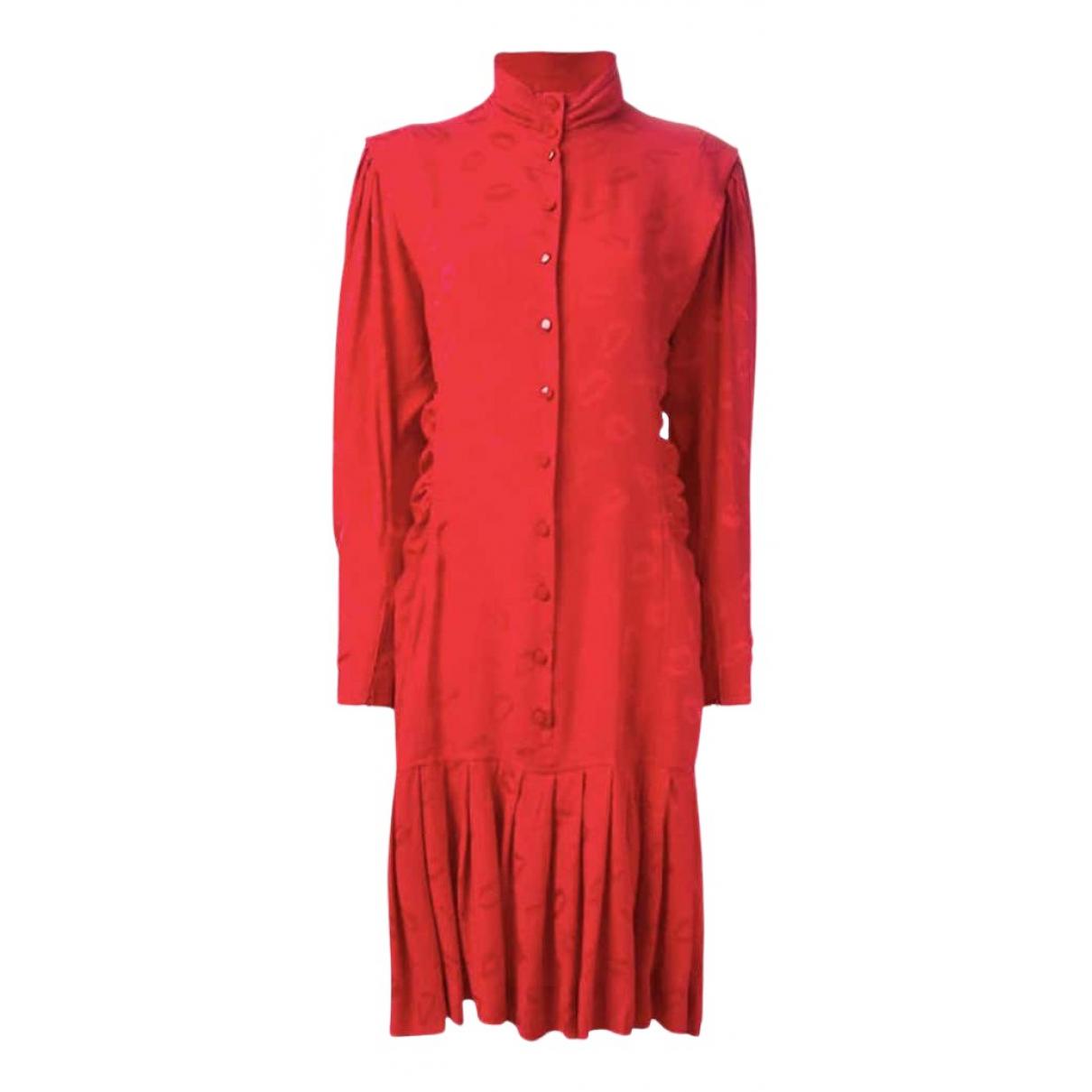 Emanuel Ungaro N Red Silk dress for Women 38 FR