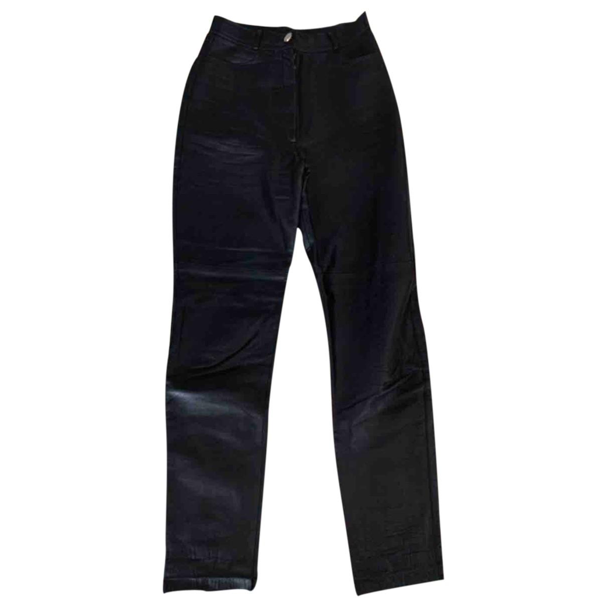 Regina Rubens \N Black Leather Trousers for Women 38 FR