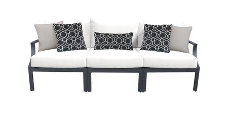 Lexington LEXINGTON-03c-WHITE 3-Piece Aluminum Patio Set 03c with Left Arm Chair  Armless Chair and Right Arm Chair - Ash and White