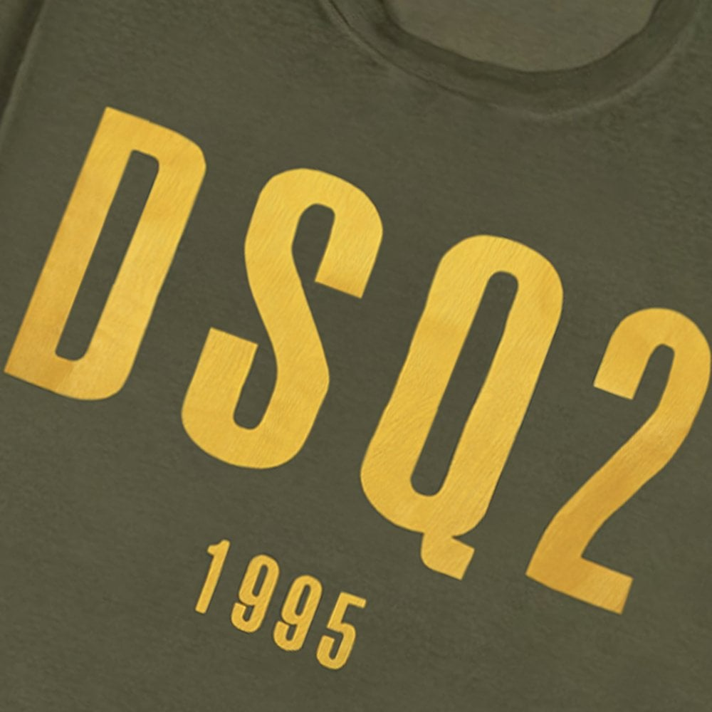 DSquared2 DSQ2 1995 Graphic T-Shirt Colour: GREEN, Size: EXTRA LARGE
