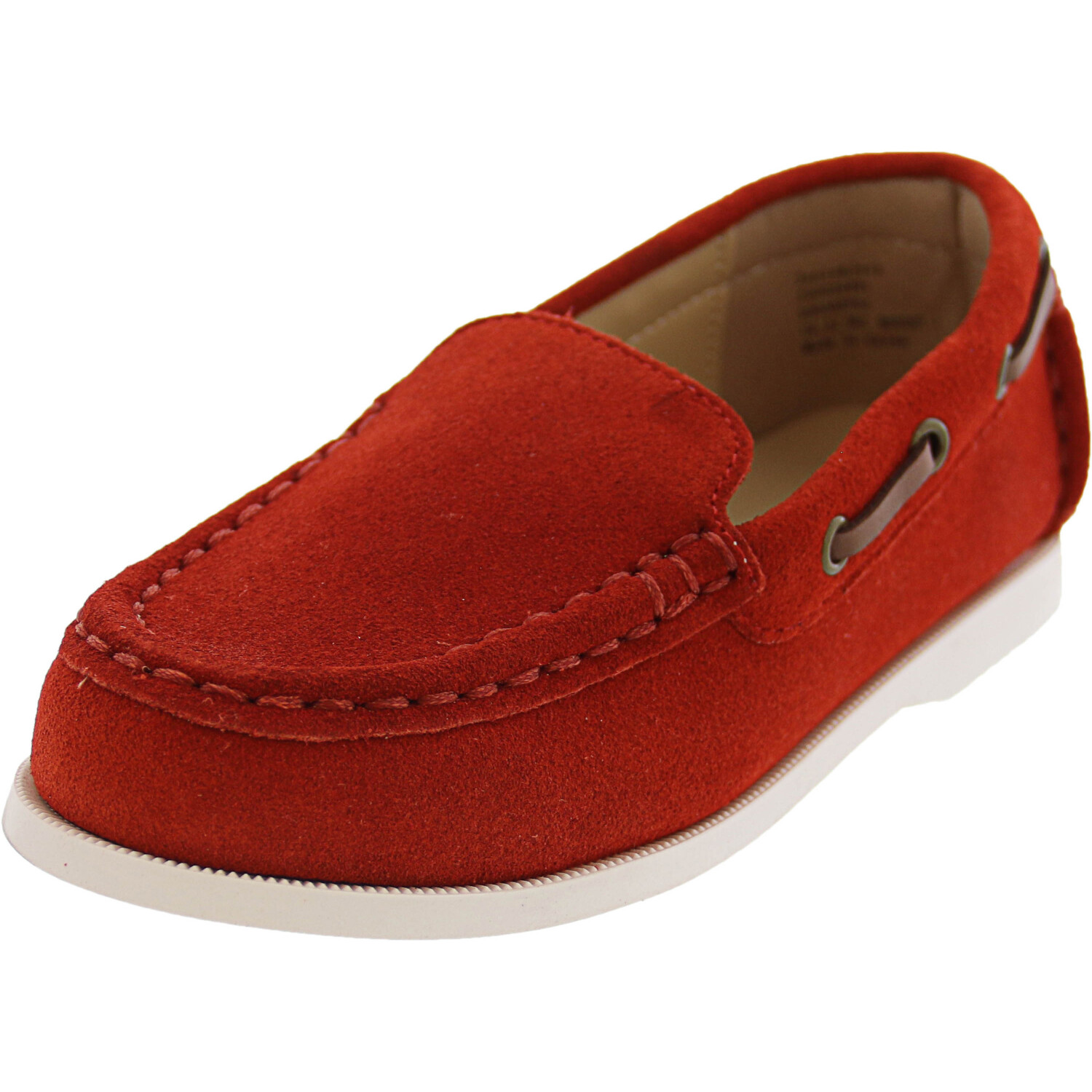 Janie And Jack Suede Driving Shoe Ankle-High Leather Moccasins - 9M - Red Orange