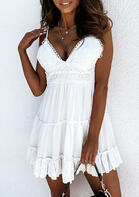 Lace Ruffled Tie Mini Dress without Necklace - White