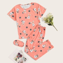 Rabbit Print Polka Dot PJ Set With Eye Cover