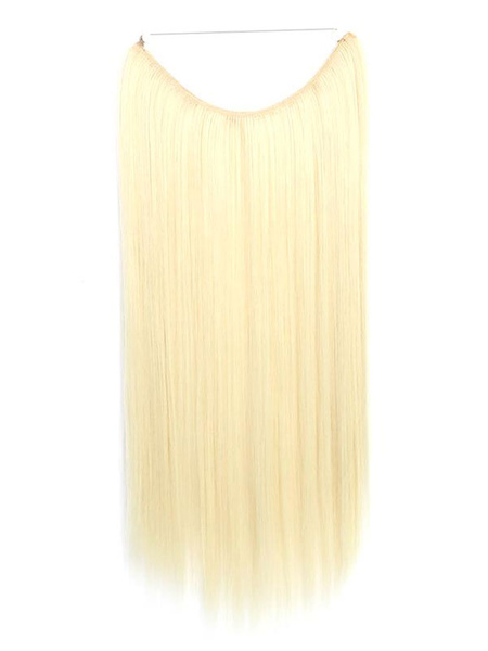 Milanoo Pelucas sinteticas de las mujeres Extensiones de pelo largas rectas encapuchadas de color topo