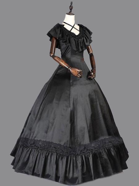 Milanoo Disfraz Halloween Disfraces retro negro Vestido vintage de mujer Vestido de fiesta de saten con volantes Carnaval Halloween