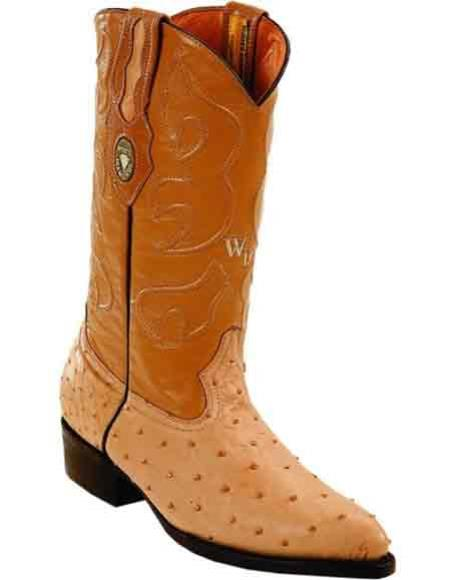 Mens Handcrafted J Toe Style Leather Lining Quill Ostrich Skin Boots