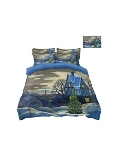 House and Snow Printing Polyester 4-Piece 3D Christmas Bedding Sets/Duvet Covers