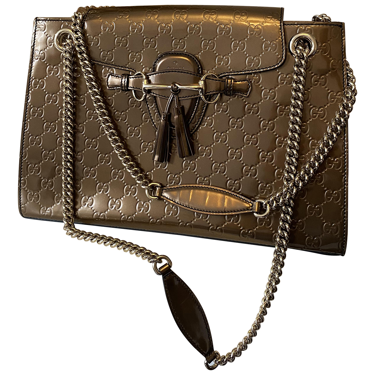 Gucci Emily Gold Patent leather handbag for Women N