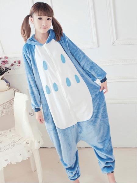Milanoo Kigurumi Animal Pajamas Blue Night Owl Costume Flannel Adult Onesie Winter Sleepwear Halloween