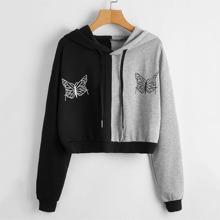 Butterfly Print Two Tone Drawstring Crop Hoodie