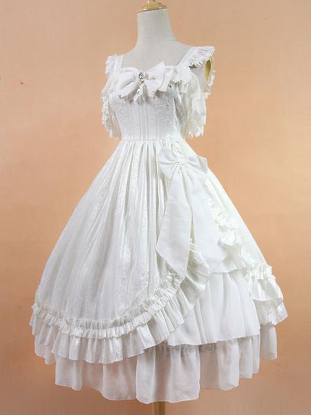 Milanoo Sweet Lolita Dress JSK Mermaids Tears White Lolita Jumper Skirt Original Design