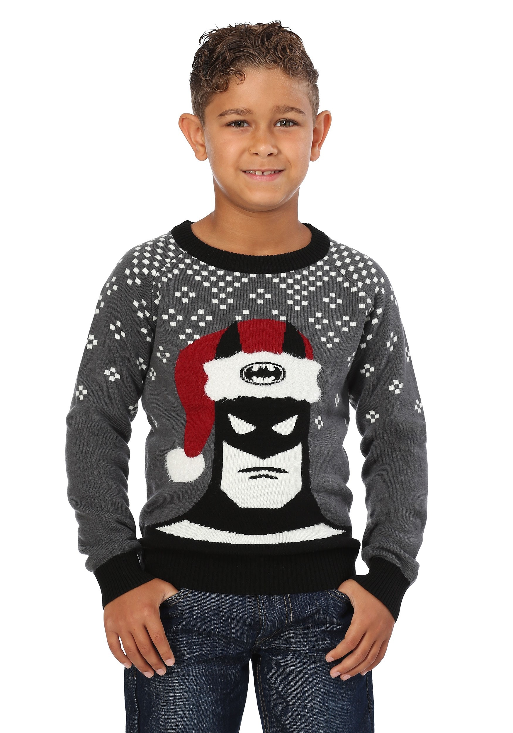 Batman Holiday Hat Ugly Christmas Sweater for Kids