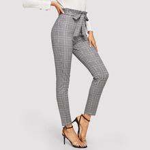 Pantalones de cuadros de cintura con volante